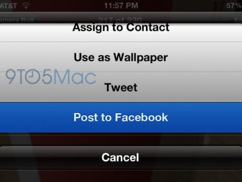 عکسی از ادغام شدن فیس بوک در iOS 6 به بیرون درز کرد
