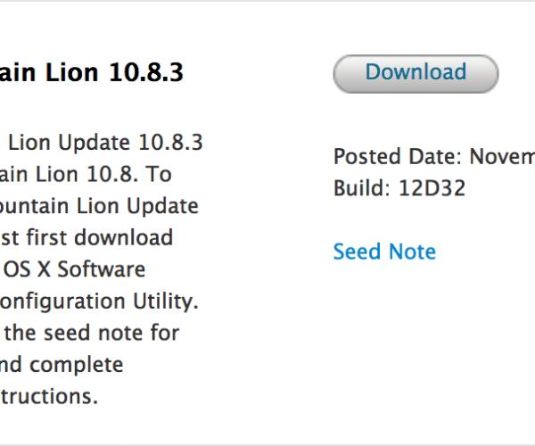 اولین نسخه بتا از نسخه ۱۰.۸.۳ Mountain Lion منتشر شد