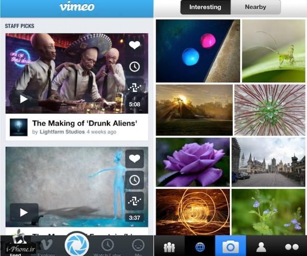یکپارچه سازى Vimeo و Flickr با iOS 7