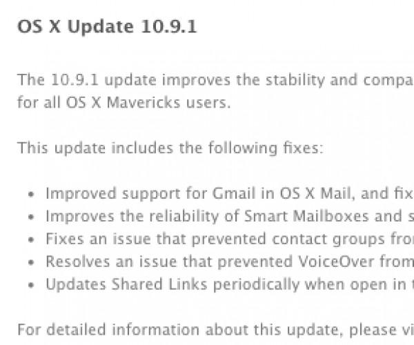نسخه نهایی OS X Mavericks 10.9.1 عرضه شد