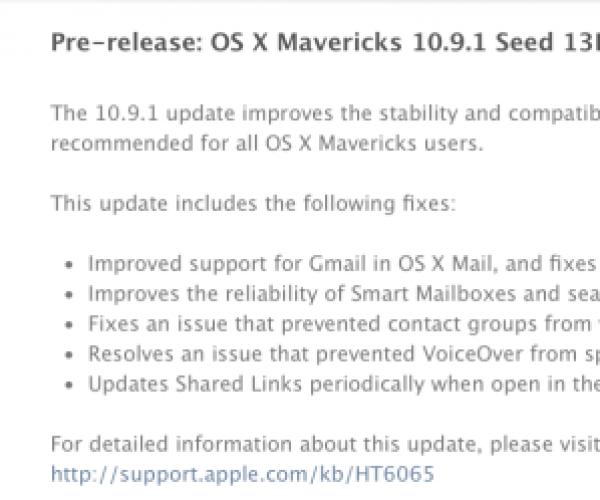 OS X Mavericks 10.9.1 بتا 3 برای برنامه نویسان عرضه شد