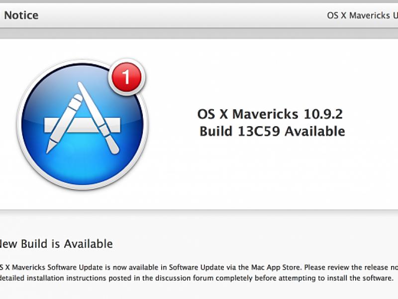 ششمین نسخه آزمایشی OS X Mavericks 10.9.2 عرضه شد