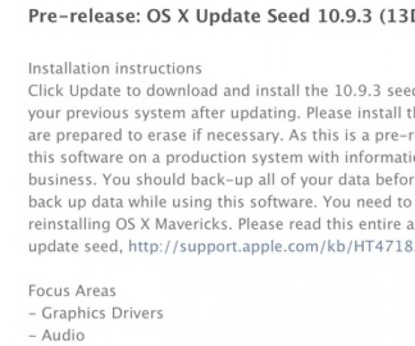اولین نسخه آزمایشی OS X Mavericks 10.9.3 عرضه شد
