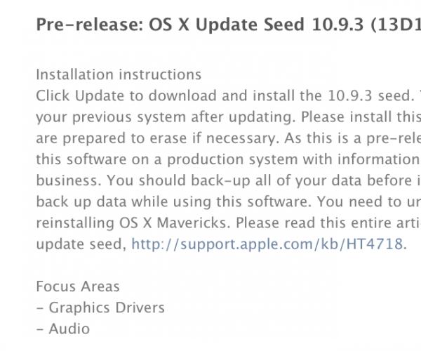 دومین نسخه آزمایشی OS X Mavericks 10.9.3 عرضه شد