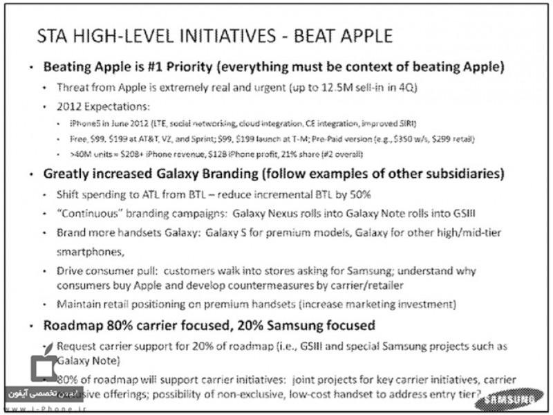 اولویت اول سامسونگ در سال ۲۰۱۲: مغلوب ساختن اپل