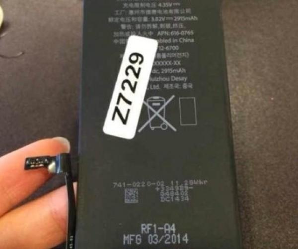 انتشار تصویری از یک باتری 2,915 میلی آمپری منتسب به آیفون 6
