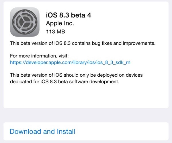 چهارمین نسخه آزمایشی iOS 8.3 عرضه شد