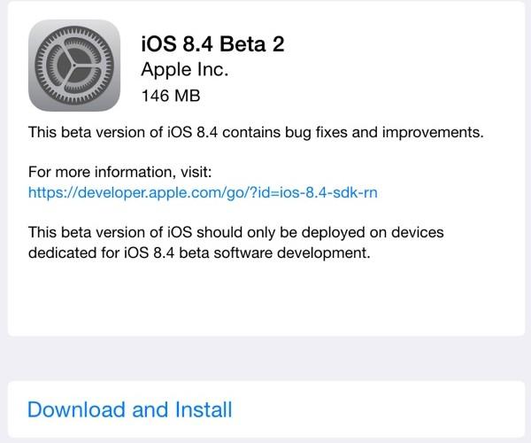 دومین نسخه آزمایشی iOS 8.4 عرضه شد