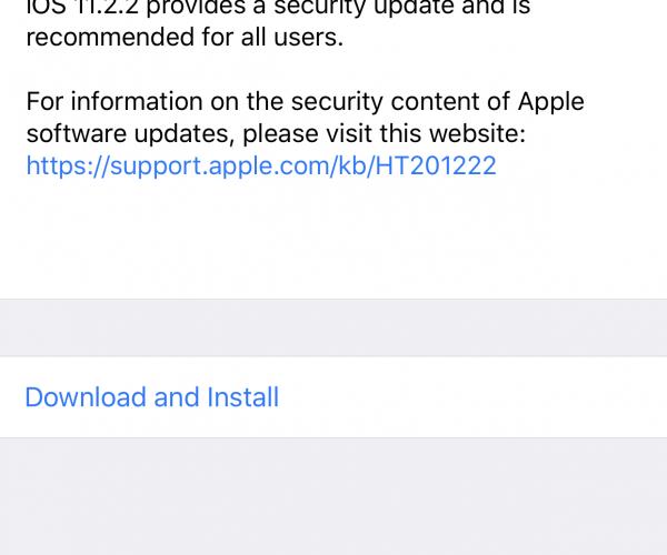 نسخه جدید iOS 11.2.2 منتشر شد