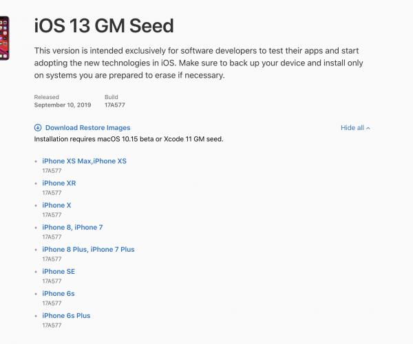 لینکهای دانلود iOS 13 GM