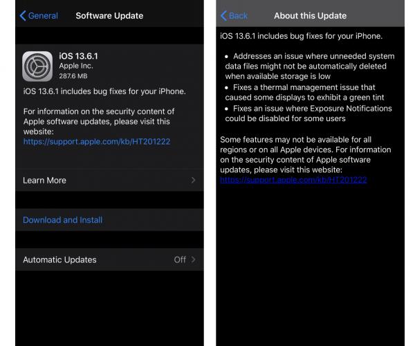 نسخه جدید iOS 13.6.1 و iPadOS 13.6.1 عرضه شد