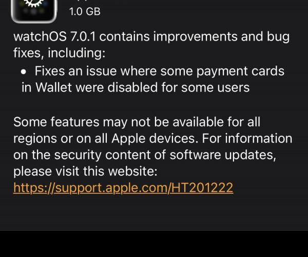 نسخه جدید watchOS 7.0.1 عرضه شد