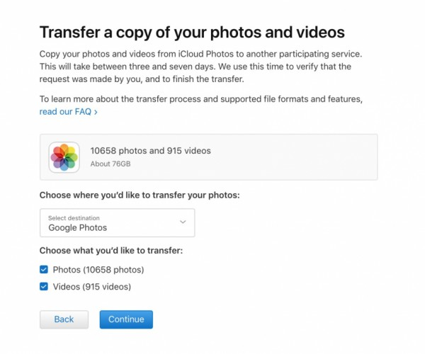 انتشار ابزار انتقال محتوای iCloud Photos به Google Photos توسط اپل