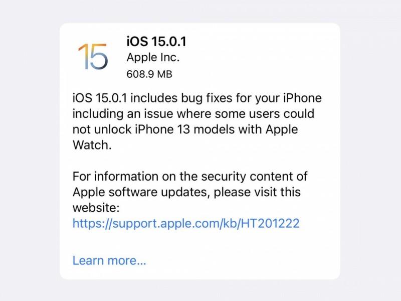 نسخه جدید iOS 15.0.1 عرضه شد