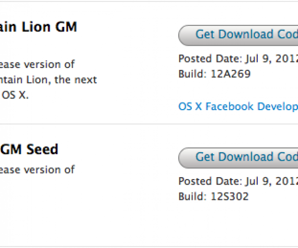 نسخه Golden Master از OS X Mountain Lion عرضه شد