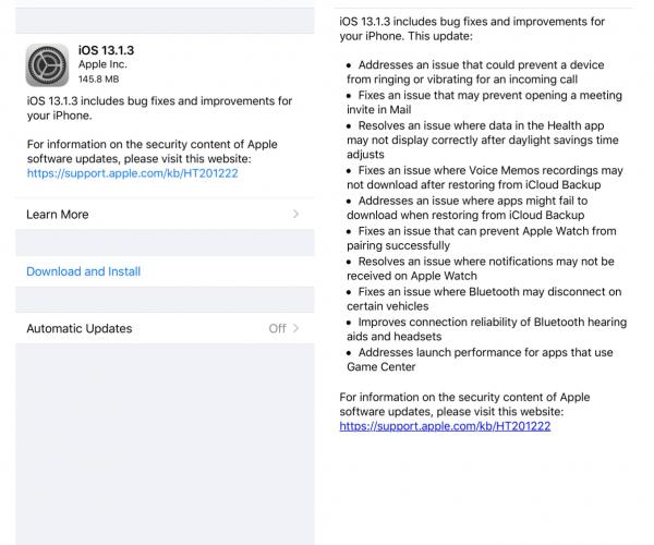 نسخه جدید iOS 13.1.3 عرضه شد